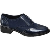 Donkerblauwe veterschoen brogue