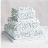 Blossom 3 Tier Pastel Blue Wedding Cake, Golden Sponge (all tiers) at Waitrose & Partners