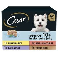 CESAR 10+ Senior Dog Trays Meaty Selection in Jelly 4 x 150g
