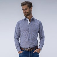 Classic dress shirt with small checkered pattern, Blue