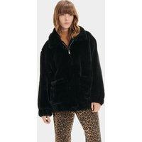 UGG Womens Kianna Faux Fur Jacket in Black, Size Small