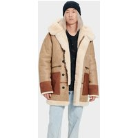 UGG Mens Yates Shearling Hooded Coat in Sand, Size XL