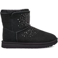 UGG Womens Classic Bling Mini Boot in Black, Size 8, Suede