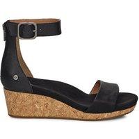 UGG Womens Zoe II Leather Wedge Sandals in Black, Size 3
