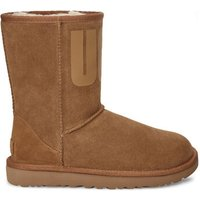 UGG Womens Classic Short Rubber Logo Boot in Chestnut, Size 7, Suede