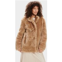 UGG Womens Lianna Short Shearling Coat in Amphora Brown, Size Large