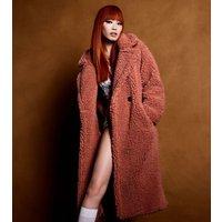 UGG Womens Gertrude Long Teddy Coat in Firewood, Size XL