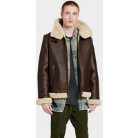 UGG Mens Auden Shearling Aviator Jacket in Chestnut, Size Large