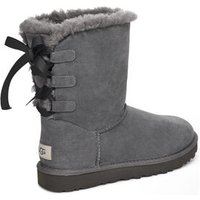 UGG Womens Short Bow Boot in Charcoal, Size 6, Suede