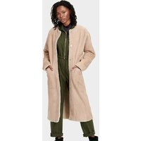 UGG Womens Remy Reversible Shearling Coat in Mushroom, Size Large