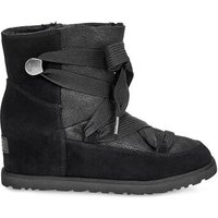 UGG Womens Classic Femme Lace-Up Boot in Black, Size 4, Shearling
