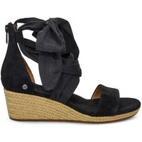 UGG Womens Trina Wedge Sandals in Black, Size 9, Suede