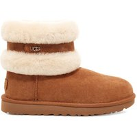 UGG Womens Fluff Mini Belted Boot in Chestnut/Natural, Size 8, Shearling