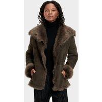 UGG Womens Karlene Toscana Jacket in Olive, Size XS, Shearling