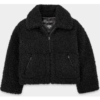 UGG Womens Maeve Sherpa Jacket in Black, Size Large