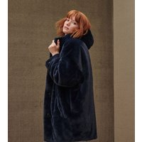 UGG Womens Nori Oversized Faux Fur Coat in Smoky Blue, Size M/L