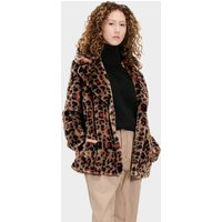 UGG Womens Rosemary Faux Fur Jacket in Leopard Amphora Brown, Size XS
