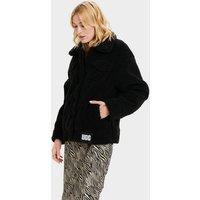 UGG Womens Frankie Sherpa Trucker Jacket in Black, Size Smal