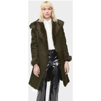 UGG Womens Vanesa Toscana Shearling Coat in Olive, Size XL