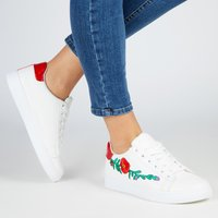 Saffron Floral Embroided Lace Up Trainers With Red Heel Tab In White Faux Leather, White