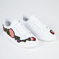 Harlow Floral Embroided Lace Up Trainers In White Faux Leather, White