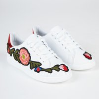 Harlow Floral Embroided Lace Up Trainers With Metallic Red Heel Tab In White Faux Leather, White
