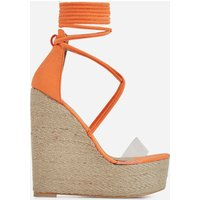 03d368dcaf9 Aliki Perspex Platform Lace Up Espadrille Wedge Block Heel In Orange ...
