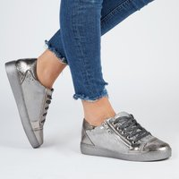 Kami Snake Print Lace Up Trainers In Silver Faux Leather, Silver