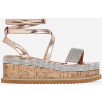 Haim Diamante Detail Espadrille Flatform In Rose Gold Faux Leather, Rose Gold