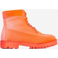 Highlighter Lace Up Ankle Boot In Orange Faux Suede, Orange