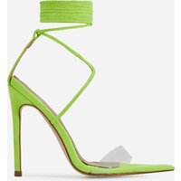 Wavey Lace Up Pointed Perspex Heel In Lime Green Faux Suede, Green