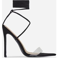 Wavey Lace Up Pointed Perspex Heel In Black Faux Suede, Black