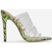 Abby Multi Strap Perspex Heel Mule In Lime Green Snake Print Faux Leather, Green