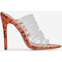 Abby Multi Strap Perspex Heel Mule In Neon Orange Snake Print Faux Leather, Orange