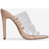Abby Multi Strap Perspex Heel Mule In Nude Patent, Nude