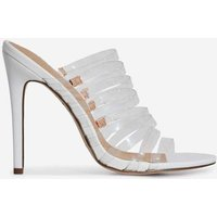 Abby Multi Strap Perspex Heel Mule In White Faux Leather, White