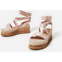 Abigail Strappy Espadrille Flatform In Pink Faux Suede, Pink