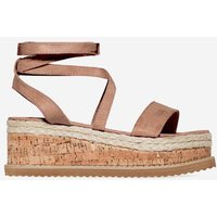 Abigail Strappy Espadrille Flatform In Mocha Faux Suede, Brown