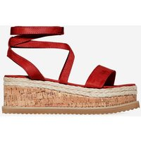 Abigail Strappy Espadrille Flatform In Red Faux Suede, Red