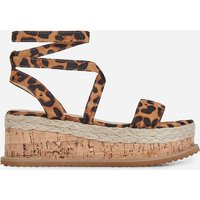 Abigail Strappy Espadrille Flatform In Tan Leopard Print Faux Suede, Brown