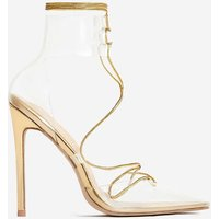 Actress Lace Up Perspex Heel In Gold Faux Leather.5, Gold