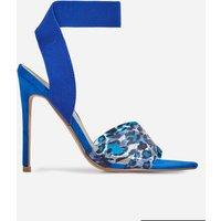 Adair Animal Print Perspex Detail Elasticated Heel In Blue Faux Suede, Blue
