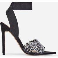Adair Animal Print Perspex Detail Elasticated Heel In Black Faux Suede, Black
