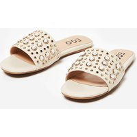 Adella Pearl Slider In Nude Faux Leather, Nude