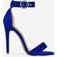Adison Diamante Buckle Barely There Heel In Blue Faux Suede, Blue