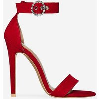 Adison Diamante Buckle Barely There Heel In Red Faux Suede, Red