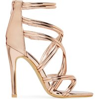 Adriana Strappy Heel In Rose Gold Faux Leather, Rose Gold