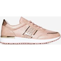 Aisley Studded Detail Sneaker In Pink Faux leather, Pink
