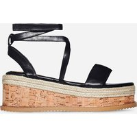 Abigail Strappy Espadrille Flatform In Black Faux Leather, Black