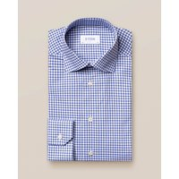Blue and White Checked Stretch Twill Shirt